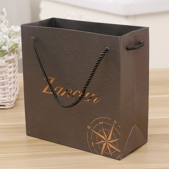 copper button high end handle gold stamping japanese bottom paper bag