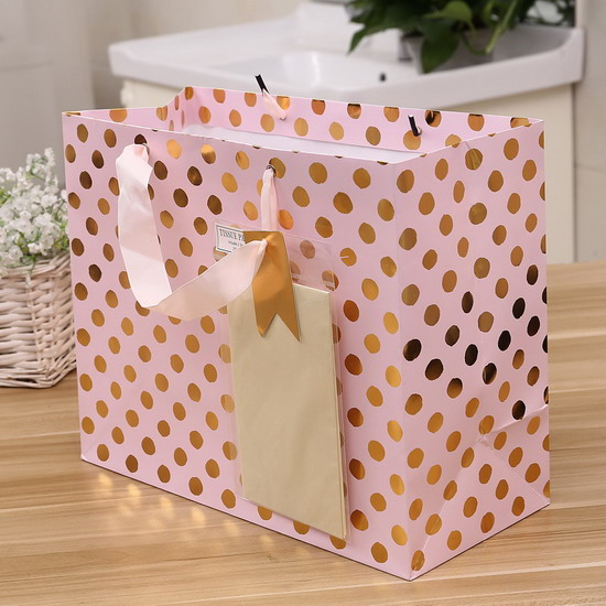 ribbon handle with tissue paper gift bag