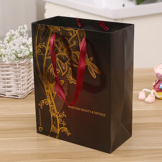 nice printing gold stamping ribbon handle paper bag manufacture
