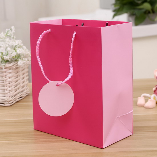 pink color printing high quality paper bag with tag