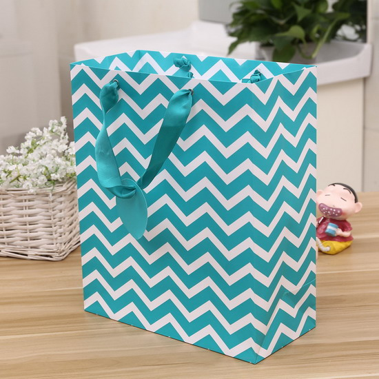light bule color with eyelet ribbon handle paper bag